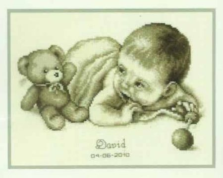 Vervaco Cross Stitch Kit - Baby & Teddy Moment