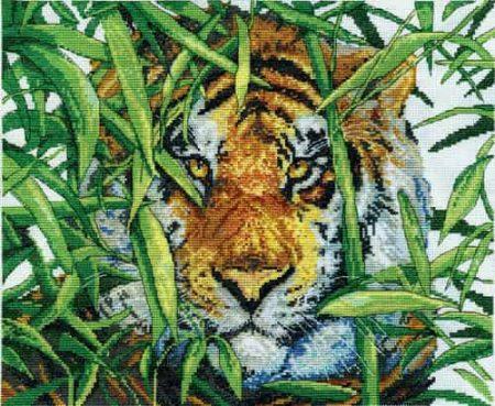 Design Works Cross Stitch Kit - Predator's Gaze, Tiger
