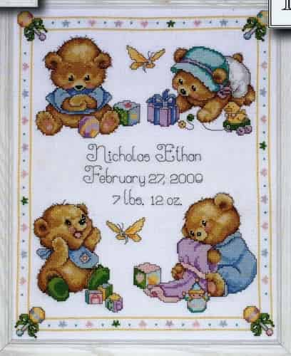 Design Works Tobin Baby Cross Stitch Kit - Baby Bear Sampler