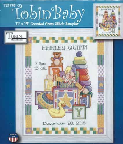 Tobin Baby Design Works Cross Stitch Kit - Toys Birth Sampler