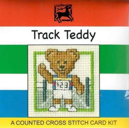Textile Heritage Cross Stitch Kit - Card - Track Teddy - Made in Scotland