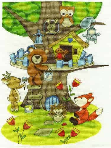DMC Cross Stitch Kit - Building the Treehouse BK1680