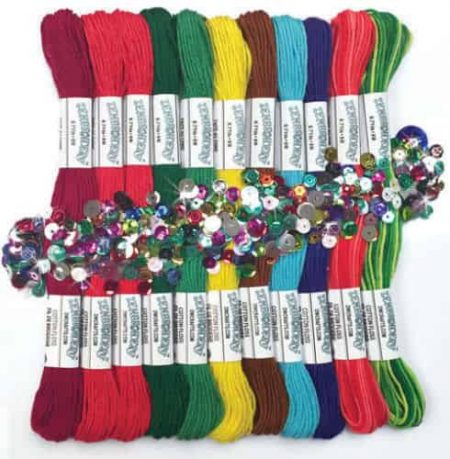 Zenbroidery Christmas Trim Pack 12 Skeins, Sequins and Beads, 2 Needles