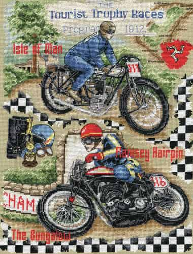 Anchor Cross Stitch Kit - Isle of Man TT, Motorbike ACS47