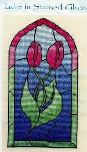 Derwentwater Designs Counted Cross Stitch Kit - Tulip in Stained Glass, Flowers