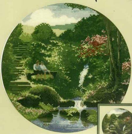 Heritage Crafts Cross Stitch Kit – John Clayton – Circles – Two's Company, Waterfall