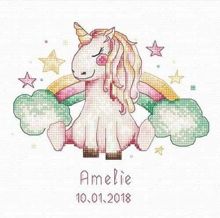 Luca S Cross Stitch Kit - Unicorn and Rainbow, Baby Birth Record