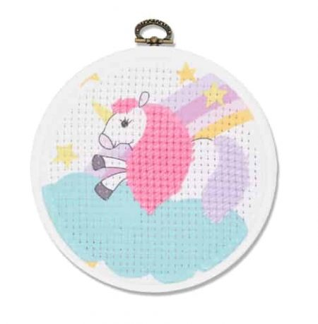 DMC Beginners Cross Stitch Kit - Unicorn BK1841 includes hoop