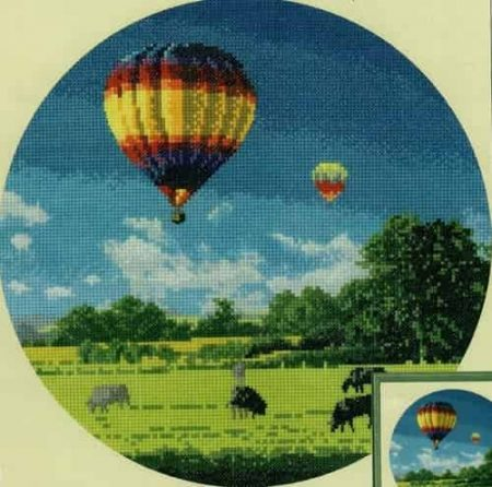 Heritage Crafts Cross Stitch Kit – John Clayton – Circles – Up and Away, Hot Air Balloon