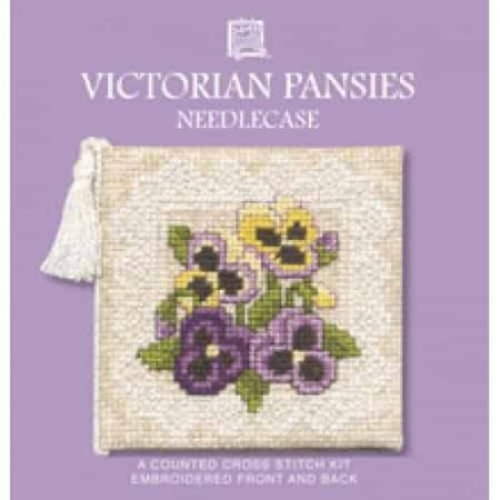Textile Heritage Cross Stitch Kit - Victorian Pansies Needlecase - Made in Scotland