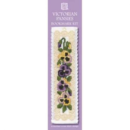 Textile Heritage Cross Stitch Kit - Bookmark - Victorian Pansies - Made in Scotland