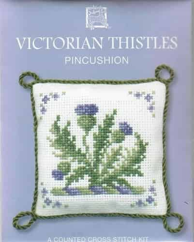 Textile Heritage Cross Stitch Kit - Pincushion - Victorian Thistles - Made in Scotland