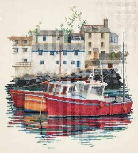 Derwentwater Designs Cross Stitch Kit - Fishing Village, Harbour