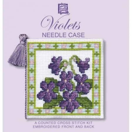 Textile Heritage Cross Stitch Kit - Violets Needlecase - Made in Scotland