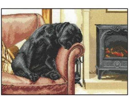 Heritage Crafts Cross Stitch Kit - After the Walk, Black Labrador