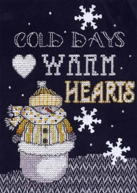 Janlynn Cross Stitch Kit - Christmas Designs - Snowman - Warm Hearts