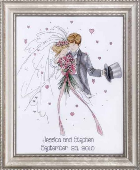 Design Works Cross Stitch Kit - Wedding Couple Sampler 2589