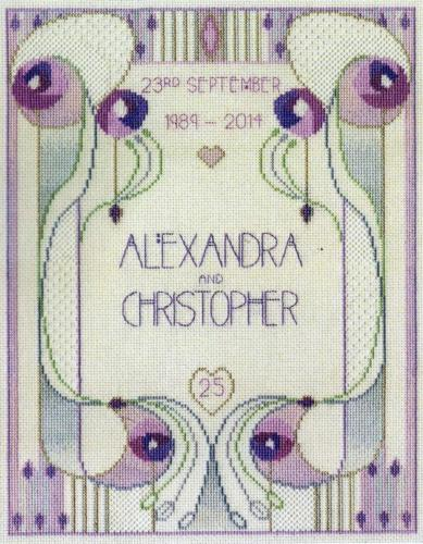 Derwentwater Designs Cross Stitch Kit Mackintosh Wedding, Anniversary, Sampler
