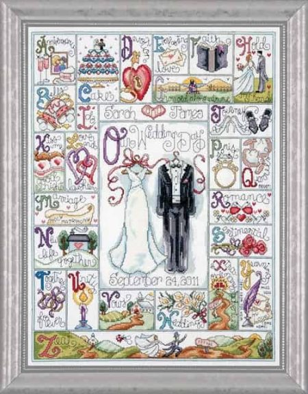 Design Works Cross Stitch Kit - Wedding ABC Sampler