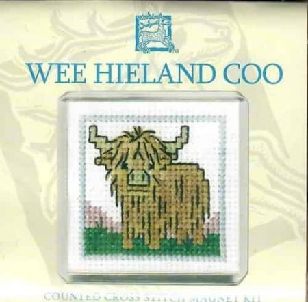 Textile Heritage Cross Stitch Kit - Fridge Magnet - Wee Hieland Coo - Made in Scotland