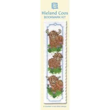 Textile Heritage Cross Stitch Kit - Bookmark - Wee Hieland Coos (Highland Cows) - Made in Scotland