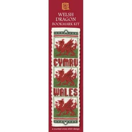 Textile Heritage Cross Stitch Kit - Bookmark - Welsh Dragon - Made in Scotland