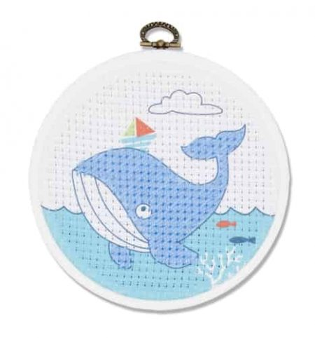 DMC Beginners Cross Stitch Kit - Whale BK1840 includes hoop