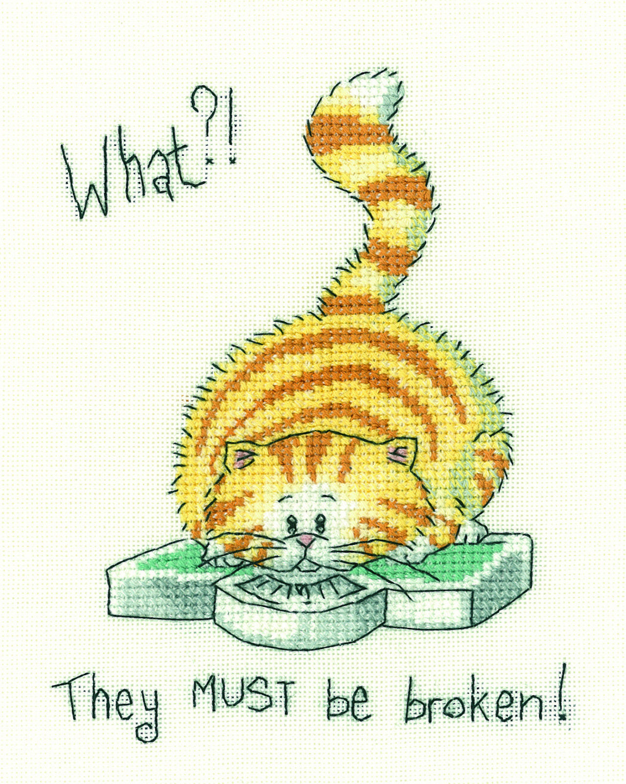 Heritage Crafts Cross Stitch Kit - Cats Rule, Cat, What?