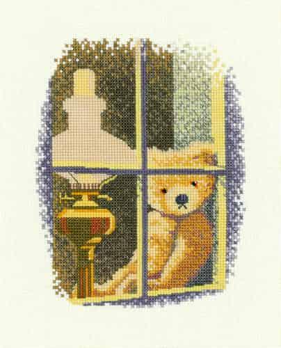 Heritage Crafts Cross Stitch Kit - William in the Window, Teddy Bear