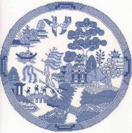 Heritage Crafts Cross Stitch Kit - Chinese Willow Pattern