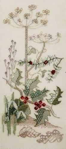 Derwentwater Designs Backstitch Kit - Seasons Panels - Winter