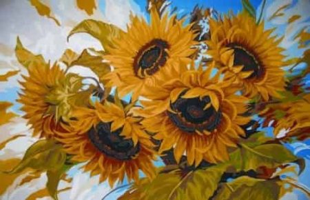 Grafitec Printed Tapestry Needlepoint Canvas - Windswept Sunflowers