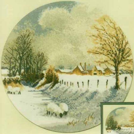 Heritage Crafts Cross Stitch Kit – John Clayton – Circles – Winter Sheep