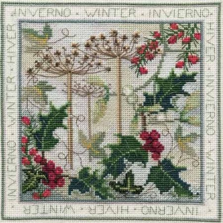 Derwentwater Designs Cross Stitch Kit - Four Seasons, Winter, Holly, Berries