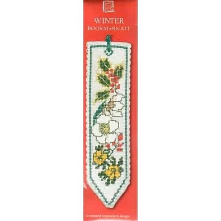 Textile Heritage Cross Stitch Kit - Bookmark - Winter, Holly Berries - Made in Scotland