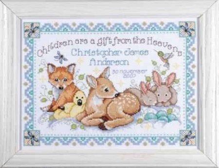 Tobin Baby Design Works Cross Stitch Kit - Woodland Baby Sampler