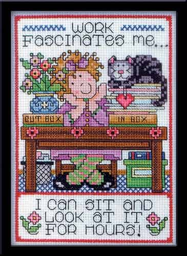 Design Works Cross Stitch Kit - Work, Saying