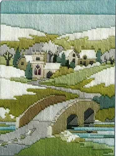 Derwentwater Designs Long Stitch Kit - Seasons, Winter Walk, Bridge, Snow