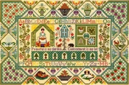 Bothy Threads Cross Stitch Kit - Moira Blackburn Peaceful Garden Sampler XS11