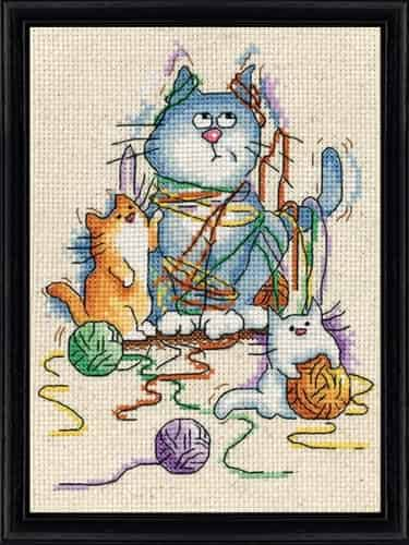 Design Works Cross Stitch Kit - Yarn Cats