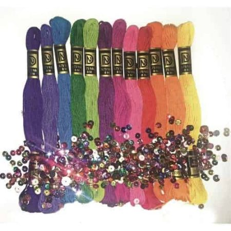 Zenbroidery Brights Trim Pack 12 Skeins, Sequins and Beads, 2 Needles