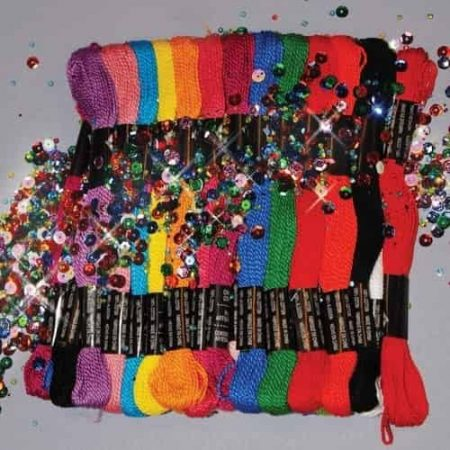 Zenbroidery 36 Skein Trim Pack Cord, Sequins and Beads, 2 Needles